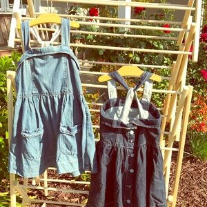 Upscale jean rompers - kids size 6. Like new
